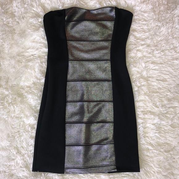 Dresses & Skirts - Black Silver Metallic Strapless Sexy BodyCon Dress